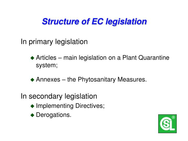 Structure of EC legislation