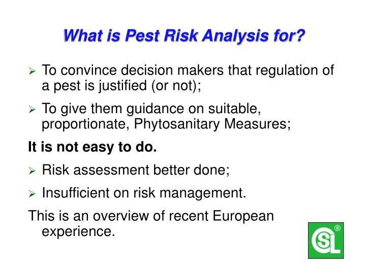 What is pest risk analysis for