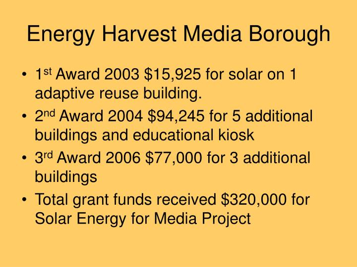 Energy Harvest Media Borough