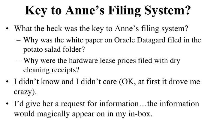 Key to Anne's Filing System?