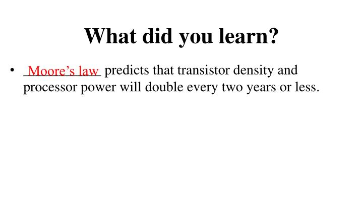 What did you learn?