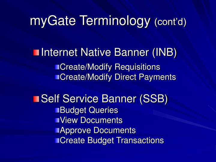 myGate Terminology
