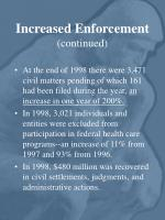 increased enforcement continued