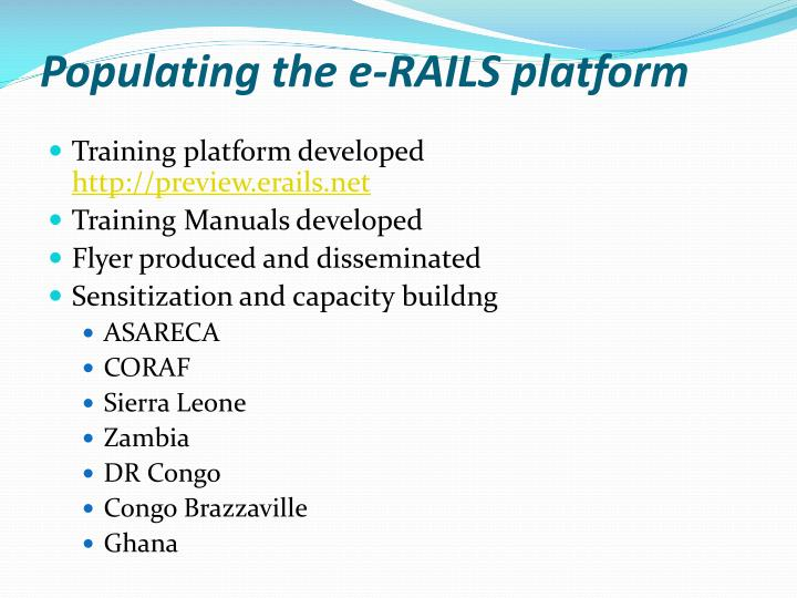 Populating the e-RAILS platform