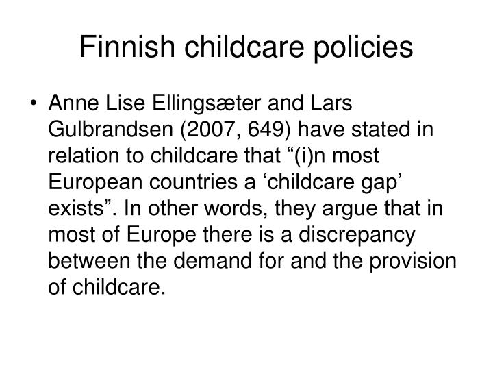 Finnish childcare policies