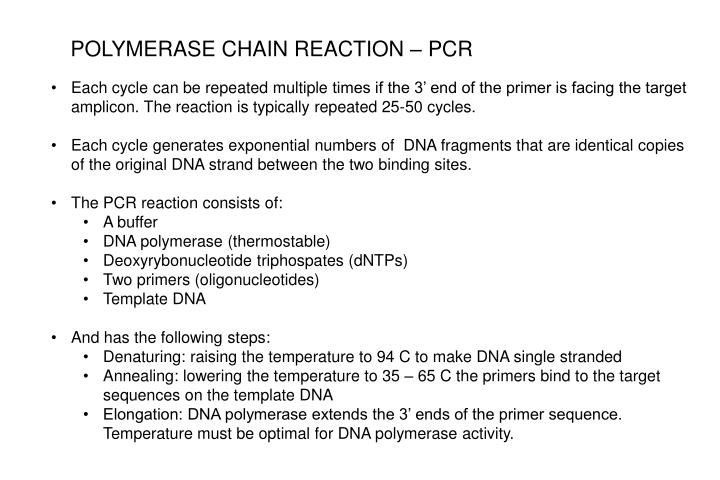 POLYMERASE CHAIN REACTION – PCR