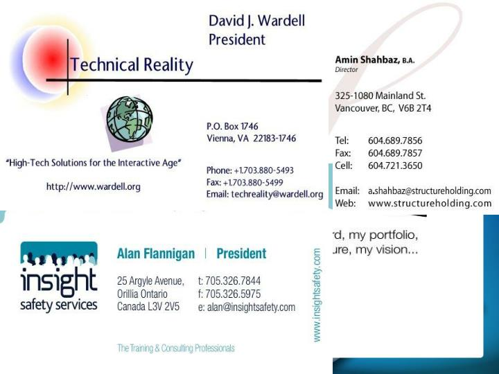 Practical skill: improving business cards