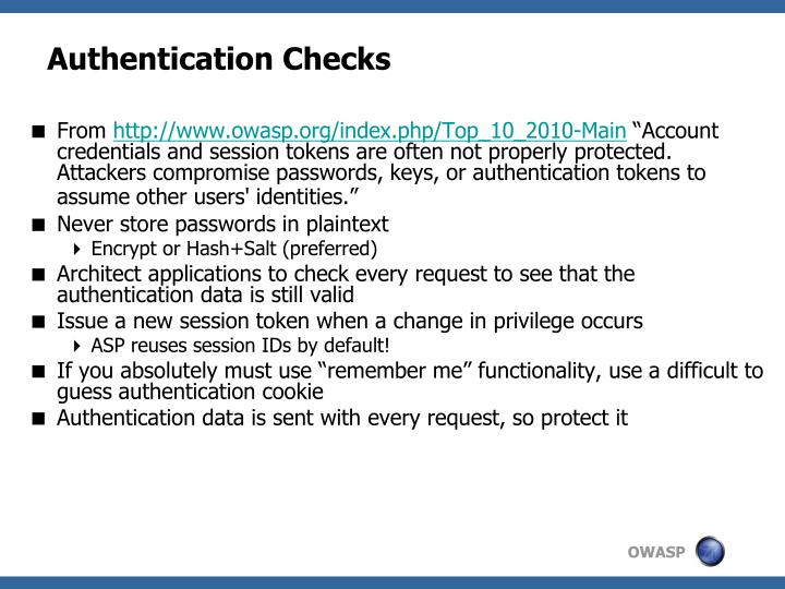 Authentication Checks
