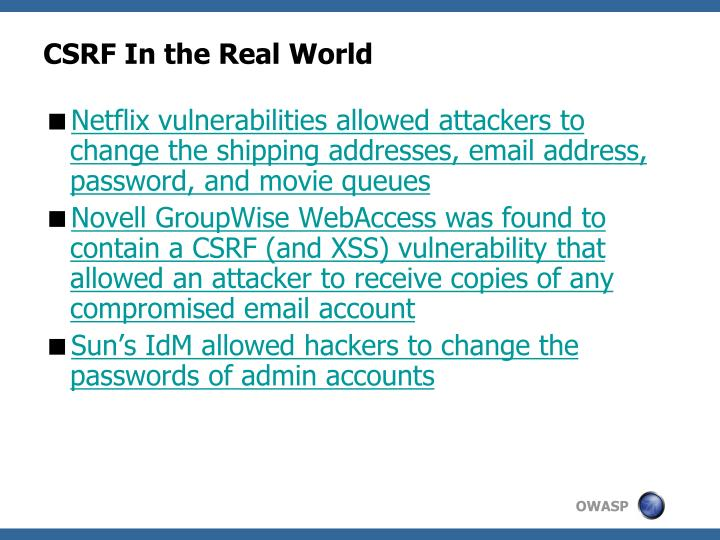 CSRF In the Real World