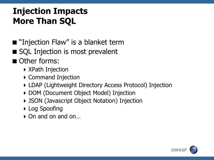 Injection Impacts