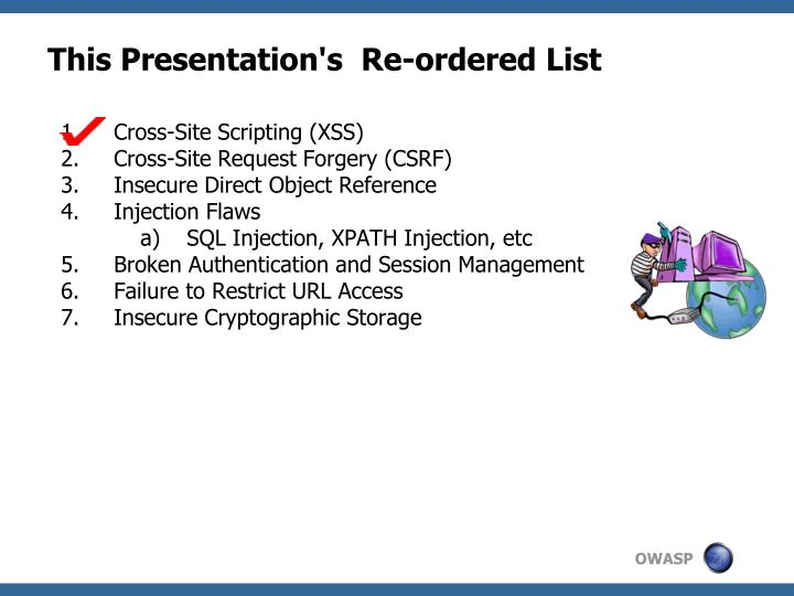 This Presentation's  Re-ordered List
