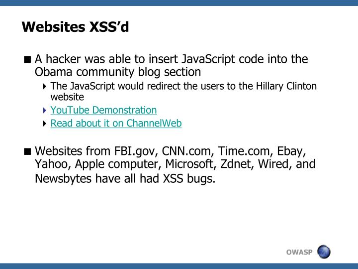 Websites XSS'd