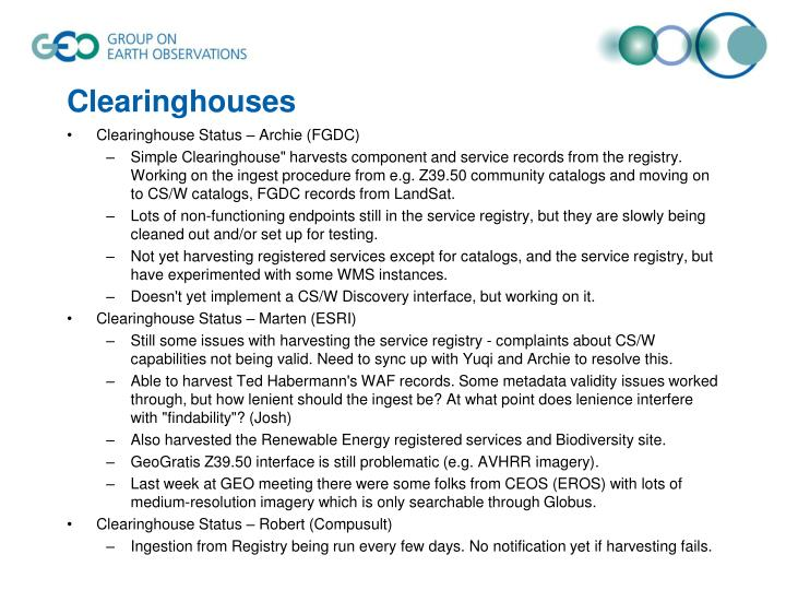 Clearinghouses