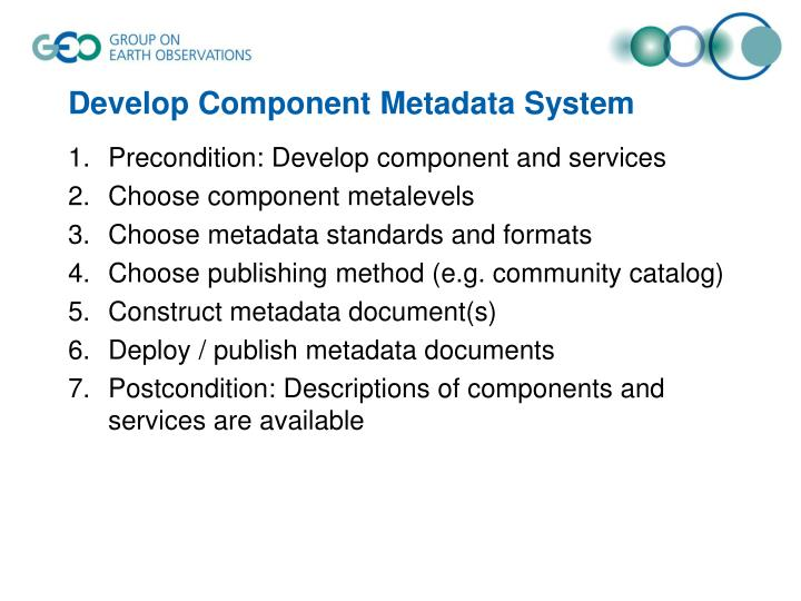 Develop Component Metadata System