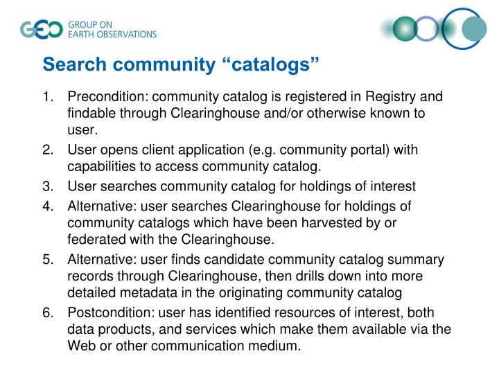 "Search community ""catalogs"""