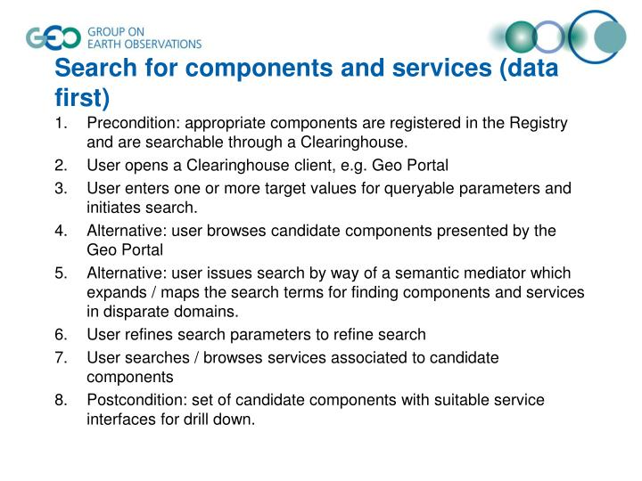 Search for components and services (data first)