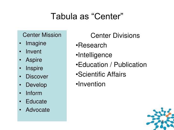 "Tabula as ""Center"""