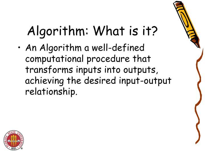Algorithm: What is it?