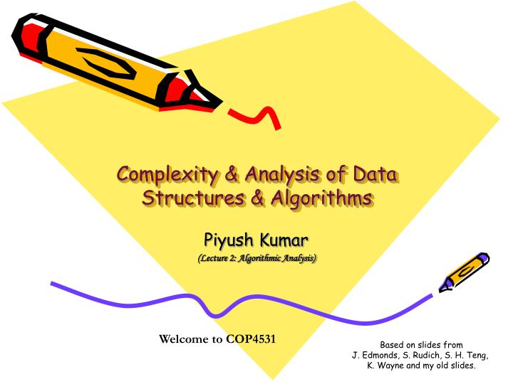 Complexity analysis of data structures algorithms