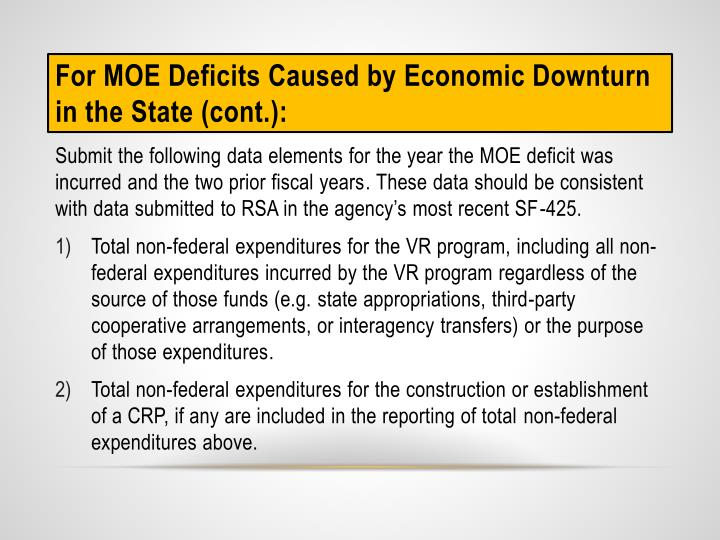 For MOE Deficits Caused by Economic Downturn in the