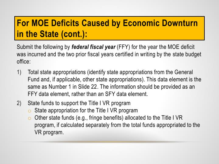 For MOE Deficits Caused by Economic Downturn in the State (cont.):