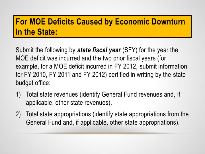 For MOE Deficits Caused by Economic Downturn in the State:
