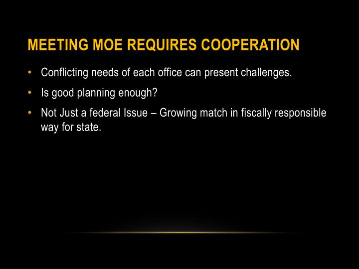 Meeting MOE requires Cooperation
