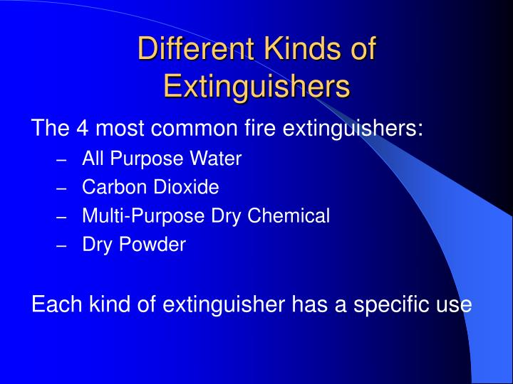 Different Kinds of Extinguishers