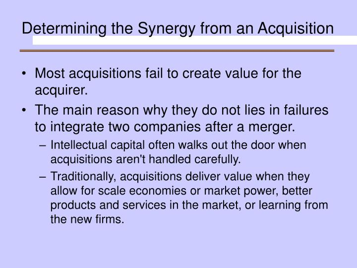 Determining the Synergy from an Acquisition