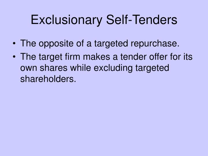 Exclusionary Self-Tenders