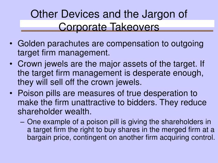Other Devices and the Jargon of Corporate Takeovers