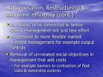 rationalisation restructuring economic efficiency cont