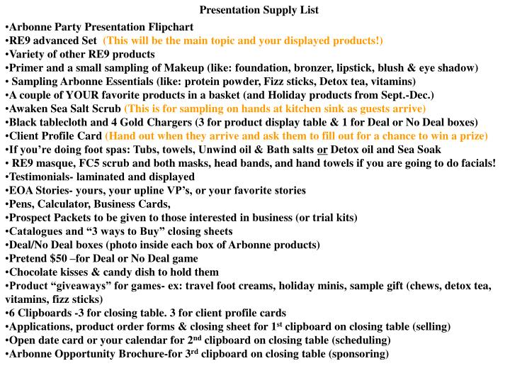 Presentation Supply List