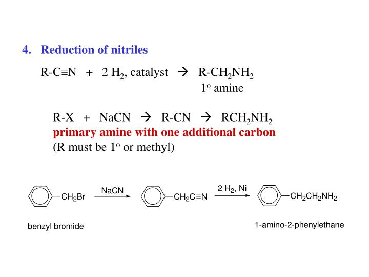 Reduction of nitriles