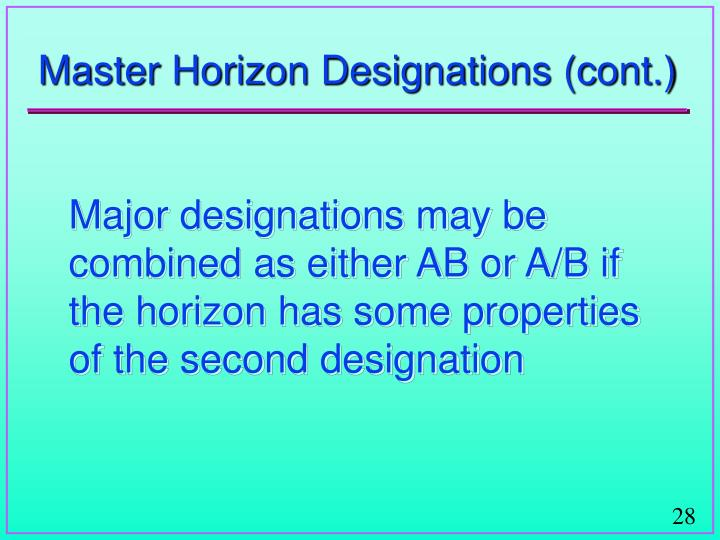 Master Horizon Designations (cont.)