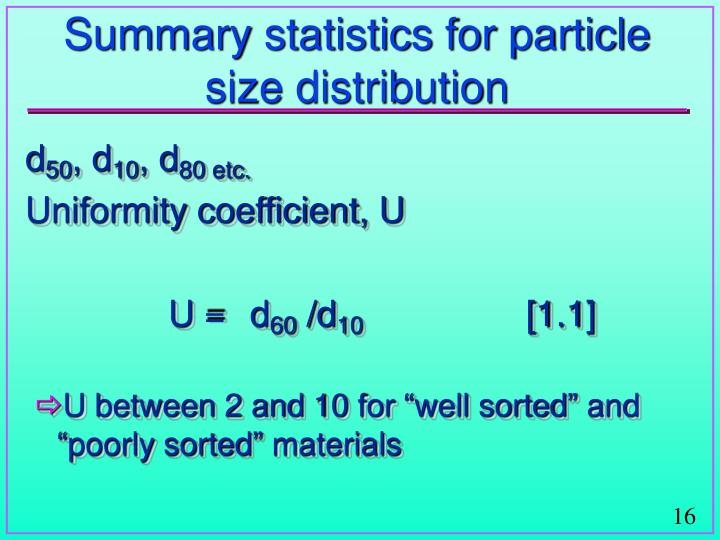 Summary statistics for particle size distribution