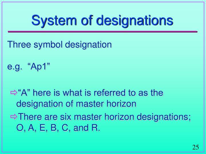 System of designations