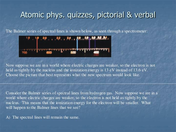 Atomic phys. quizzes, pictorial & verbal