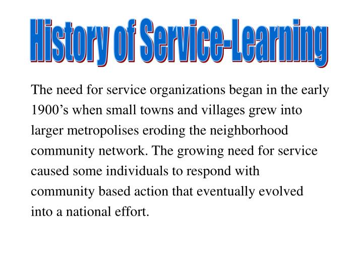 History of Service-Learning