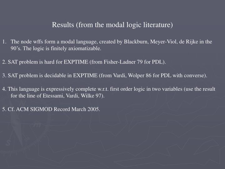 Results (from the modal logic literature)