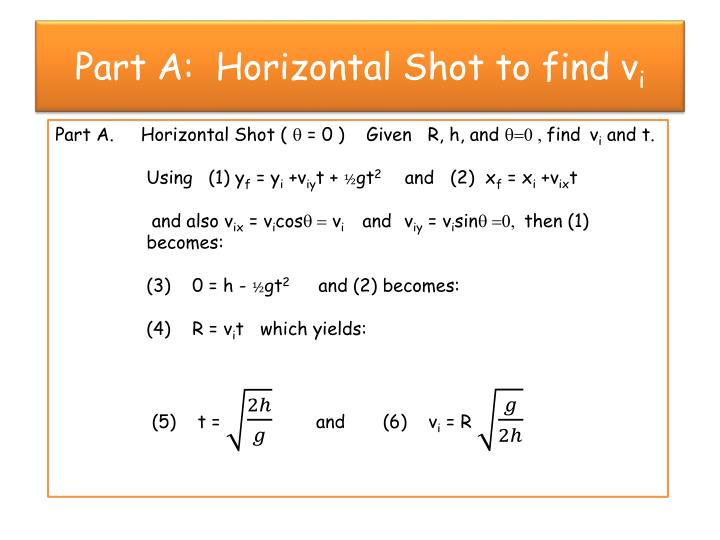 Part a horizontal shot to find v i