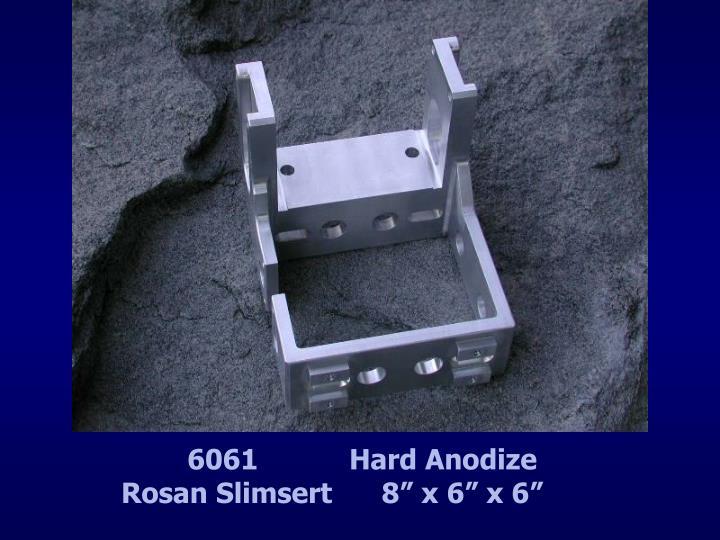 "6061           Hard Anodize             Rosan Slimsert      8"" x 6"" x 6"""