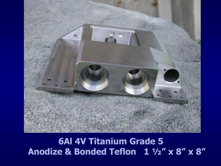 "6Al 4V Titanium Grade 5                        Anodize & Bonded Teflon   1 ½"" x 8"" x 8"""