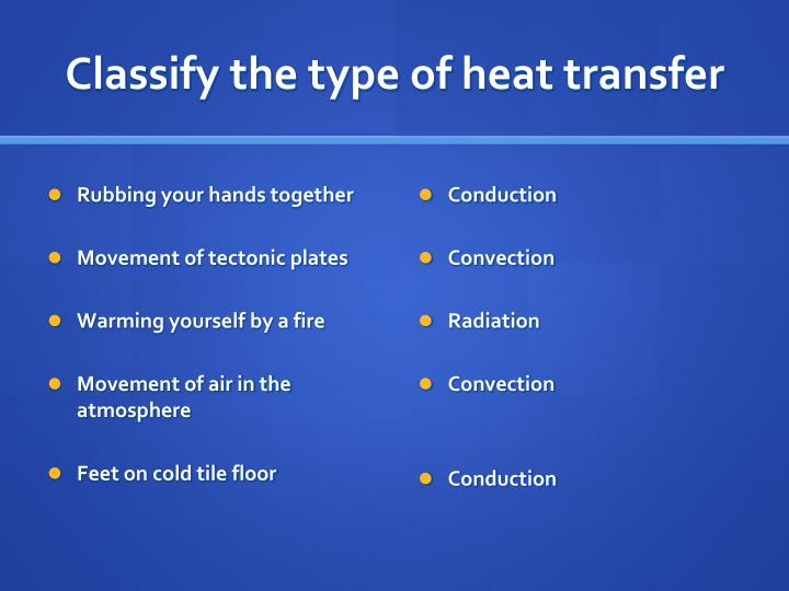 Classify the type of heat transfer
