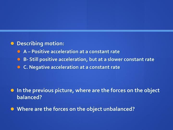 Describing motion: