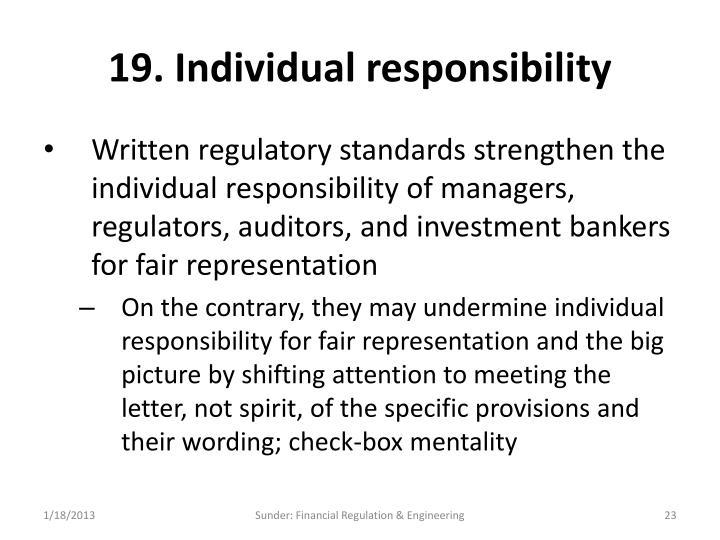 19. Individual responsibility