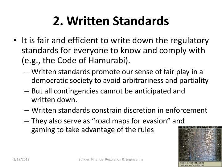 2. Written Standards
