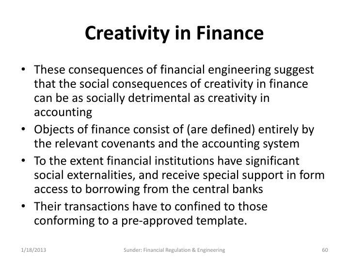 Creativity in Finance