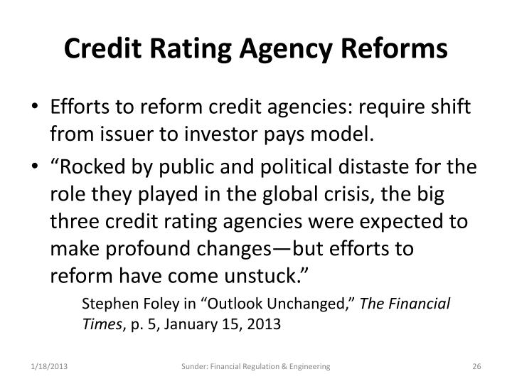 Credit Rating Agency Reforms